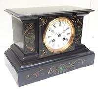 Very Fine French Slate & Marble Mantel Clock Classic 8 Day Striking Mantle Clock (9 of 13)