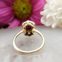 Art Deco 18ct Gold, Platinum Ruby & Diamond Shield Ring (4 of 8)