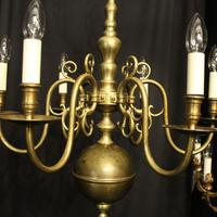 English Pair of 6 Light Antique Chandeliers (3 of 10)