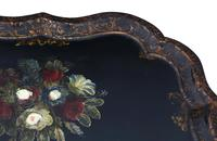 Victorian Tilt Top Decorated Black Lacquer Tray Top Coffee Table (7 of 11)
