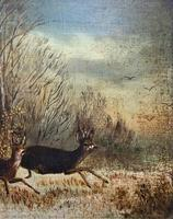 'Chasing The Deer' Beautiful 19th Century Game Hunting Moonlit Landscape Oil Painting (5 of 14)