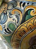 Pair of Fine 20th Century Italian Pottery Sea Horse Romantic Lovers Wine Pitcher Ewer Vases (12 of 12)