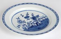 English Blue & White Ceramic Chinoiserie Fence Pattern Decorated Plate 18th Century (6 of 12)
