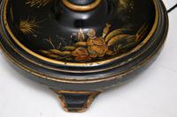 Antique Lacquered Chinoiserie Lamp Stand & Shade (4 of 12)