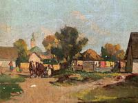 Josef Harencz Farmyard & Horses Landscape Oil Painting (8 of 10)