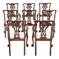 Set of 8 (6+2) mahogany dining chairs Georgian revival C1910 (11 of 11)