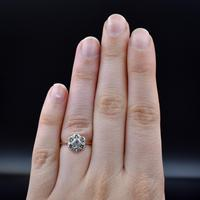 Vintage Old Cut Diamond Daisy Halo Cluster 18ct 18k Yellow Gold Ring 0.52ct Total (4 of 8)