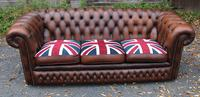 1960s 3 Seater Brown Leather Chesterfield Sofa with Union Jack