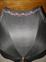 Antique Ladies Floral Black Canopy Umbrella W/Partridge Wood & Gold Plate Handle (3 of 15)