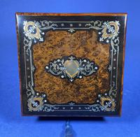 Victorian  French Burr Cedar Jewellery Box with ebonised fruitwood and original interior (6 of 13)