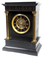 Antique French Slate Mantel Clock 8-Day Square Bracket Striking Mantle Clock with Gilt Decoration (9 of 11)