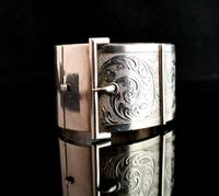 Victorian Silver Cuff Bangle, Wide, Buckle (2 of 11)