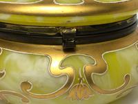 Antique Art Nouveau Loetz Art Glass Round Gilt Floral Trinket Box (32 of 33)