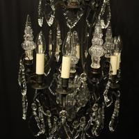 French Bronze & Crystal 8 Light Cage Chandelier (6 of 10)