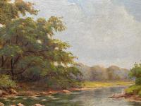 Beautiful Original 1921 Antique Riverscape Landscape Oil Painting (8 of 10)