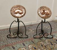 Pair of Arts & Crafts Copper & Iron Andirons or Fire Dogs