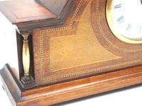 Fine Edwardian Mahogany Arched Clock Multi Wood Inlay Timepiece Mantel Clock (4 of 9)