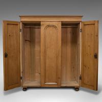 Antique Three Panel Wardrobe, English, Pine, Cupboard, Closet, Victorian c.1900 (3 of 10)