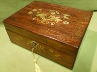 Beautifully Inlaid Rosewood Jewellery Box. Unusual Interior c.1865 (5 of 14)