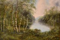 """Oil Painting Pair by F. Walters """"Spring on the Severn, Ringwood"""" """"Autumn, Ringwood"""" (7 of 10)"""