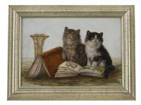 Bessie Bamber FL 1900-1910 'Two Kittens & Books'