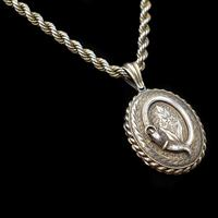 Antique Oval Buckle Fancy Locket and Rope Chain Sterling Silver Gold Gilt Necklace (9 of 11)