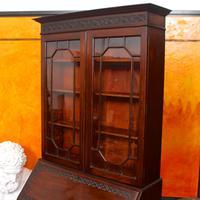Secretaire Bureau Bookcase Astragal Glazed Mahogany Library Cabinet Edwardian (8 of 14)