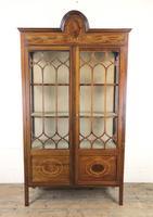 Edwardian Inlaid Mahogany Glass Display Cabinet (M-1535)