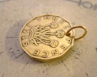 Vintage Pocket Watch Chain Fob 1945 WW2 King George V1 Threpenny Bit Coin Fob (4 of 6)