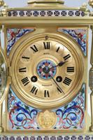 French Napoleon III Brass & Champleve Mantel Clock by Japy Freres (3 of 10)