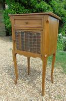 Antique French Fruitwood Bedside Cabinet Leather Book Fronts (5 of 8)