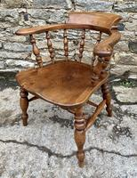 Antique Elm Captains Chair Smokers Bow (4 of 13)