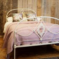 Mid Victorian Cast Iron Antique Bed in Cream (2 of 7)