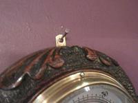 Antique Carved Oak Visible Works Barometer (5 of 5)