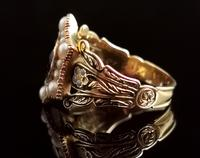 Antique Mourning Ring, 18ct Gold, Enamel, Pearl & Garnet - William IV (3 of 13)