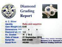 0.45ct Ruby & Sapphire, 1.50ct Diamond, 14ct Yellow Gold Bangle - Antique c.1890 (9 of 12)