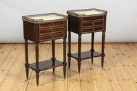 Pair of French Three Drawer Mahogany Bedside Cabinets (3 of 10)