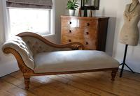 Edwardian Mahogany Framed Chaise Longue with Button Back Upholstery (12 of 12)