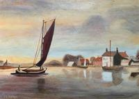 Contemporary, British School - Sailing on the Estuary - Seascape Oil Painting (3 of 11)