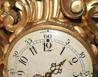 Scandanavian Wall Clock Antique Carved Rococo Giltwood Clocks (5 of 10)