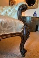Stunning Quality Original 19th Century Carved Rosewood Cream Upholstered Sofa Settee (10 of 11)