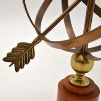 Brass & Teak Armillary Sphere Vintage Table Lamp (8 of 11)