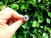 0.63ct Sapphire & 1.64ct Diamond, 18ct White Gold Dress Ring c.1935 (2 of 9)