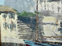 Dutch Oil Painting Fishing Harbour Channel Coast Signed Bernhard Laarhoven (24 of 34)