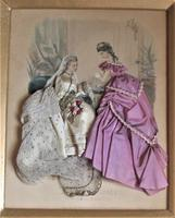 Antique Victorian 3-D fashion picture, textile and print, original frame, 1872 (2 of 10)