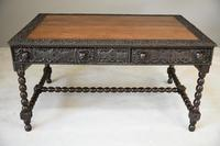 Antique Anglo Indian Carved Padouk Library Table (27 of 34)