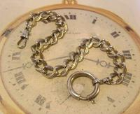 Antique German Pocket Watch Chain 1920s Ornate Silver Nickel Fancy Albert (4 of 11)