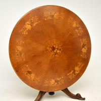 Antique Italian Marquetry Top Walnut Dining Table (4 of 10)