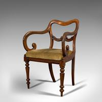 Antique Scroll Armchair, English, Mahogany, Buckle Back, Seat, William IV, 1835 (5 of 11)