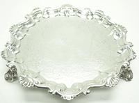 English Antique Solid Silver Salver, Super Design Fresh & Clean c.1846 (6 of 6)